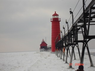 Grand Haven Lighthouse in Winter