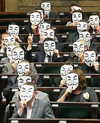 Guy Fawkes Masks in the Polish Parliament
