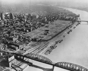 St. Louis riverfront after demolition of warehouses. c. 1942