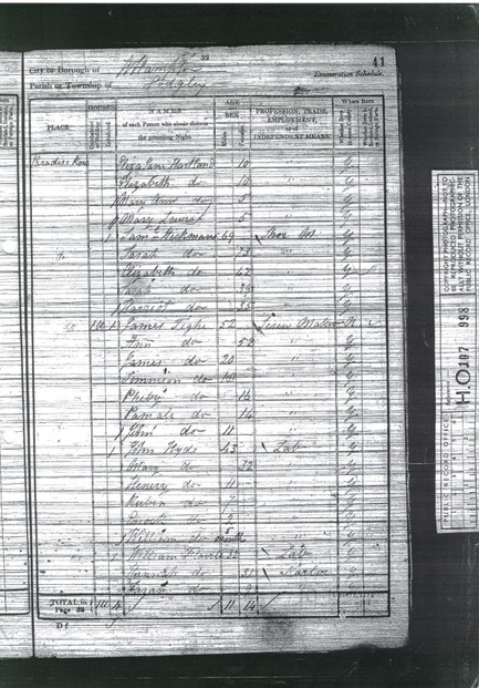 Example of an 1841 British Census