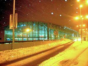 Prague Airport at night and in winter.