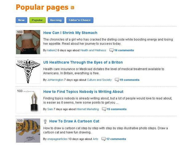 Article Score - Popular Pages