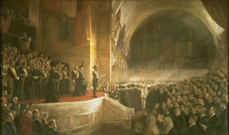 The opening of the first Parliament of Australia, Melbourne, on 9 May 1901