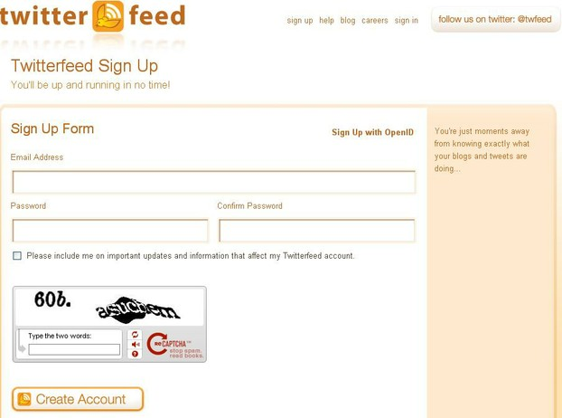 Create a Twitterfeed account
