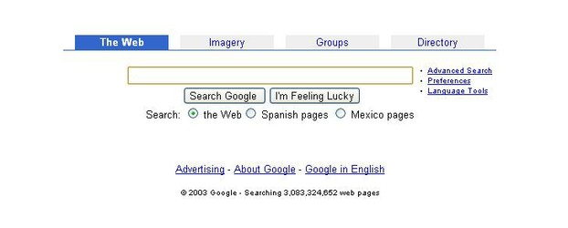 Google Mexico on 25 March 2003