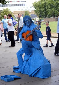 Weird, blue guitar player, huh?
