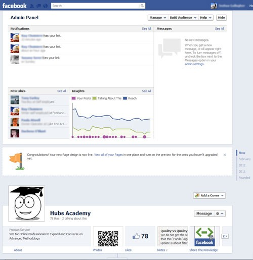 New Facebook Brand Admin Page before entering Cover Image