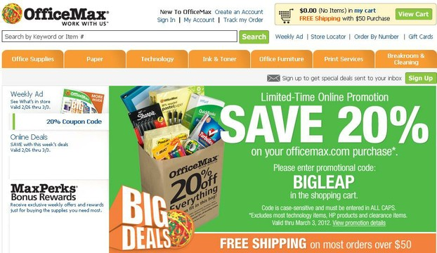 OfficeMax Front Page