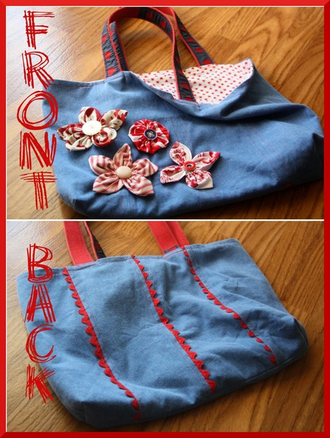 Another Jean Tote with Fabric Flowers