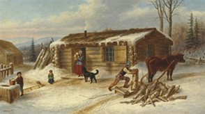 Daily Chores, Reproduction of Oil Painting by Cornelius Krieghoff