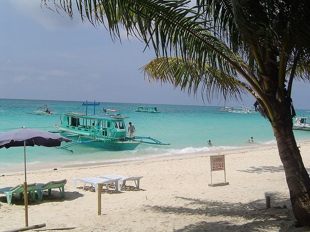Boats off a beach on Boracay Island