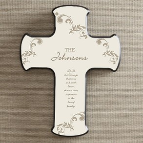 God Bless our Home Personalized Cross