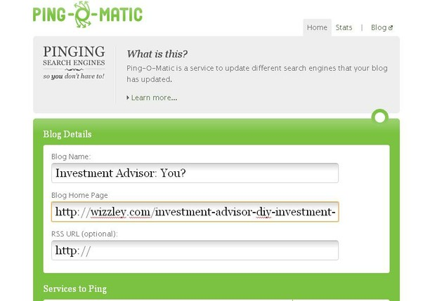Ping-o-Matic URL entry