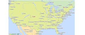 Yandex map of mainland US