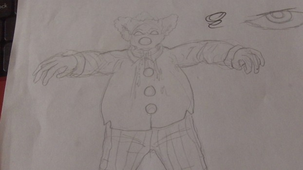 Clown Zombie Draft Sketch