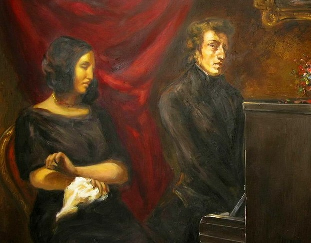 Frédéric Chopin and George Sand (oil painting after sketch by Eugène Delacroix)