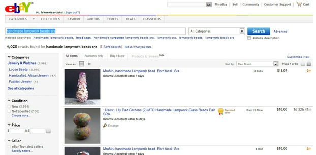 Narrowing the Ebay search