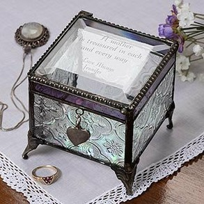 Personalized Vintage Glass Jewelry Box