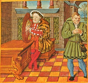 King Henry VIII with His Fool Will Sommers