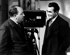Hitchcock and Holmolka on the set