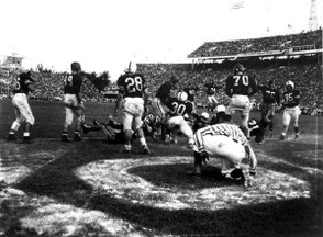 A closeup of the Orange Bowl circa 1950