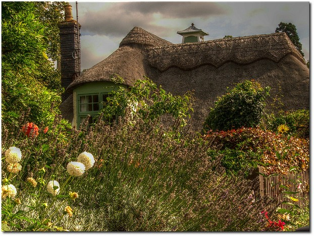A Cottage Garden in Full Bloom in Hemingford Abbots, Cambridgeshire