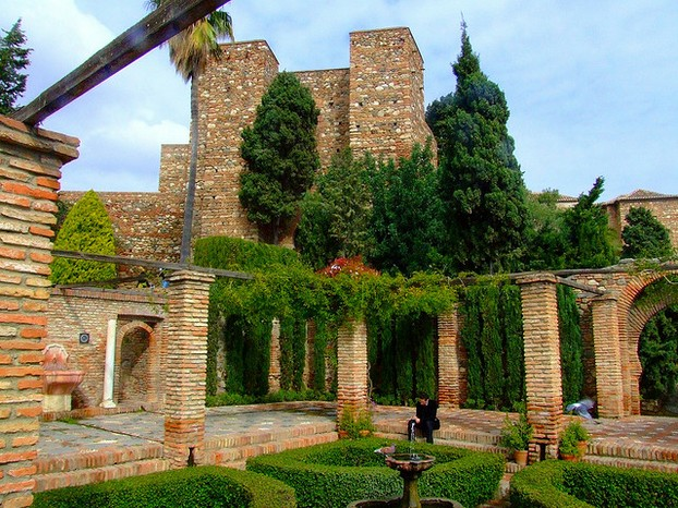 A garden in the 11th-century moorish palace-fortress of Alcazaba in Malaga.