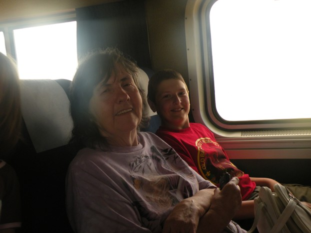 Mother and grandson James on the train