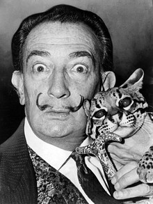 Salvador Dalí and Babou the Ocelot