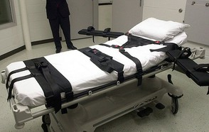 Image: Bed used to restrain the prisoner while the lethal injection is administered.