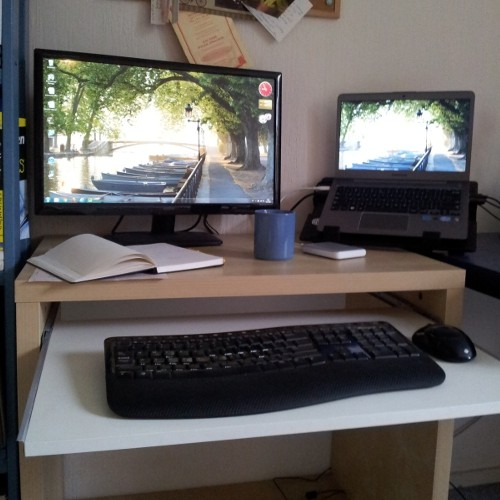 My laptop setup. The laptop itself is on the right, external screen left etc.