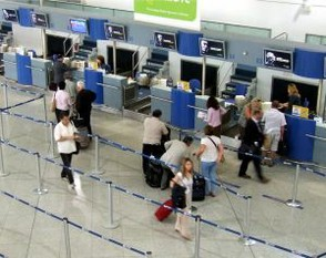 A crowd control queing system used at an airport