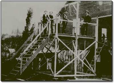 Gallows built especially for Josiah and Elizabeth Potts, Elko, Nevada, 1890.