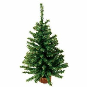 "18"" Mini Artificial Pine Tree with Wood Base"