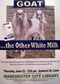 Cute poster advertising a seminar on goat milk!