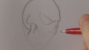 Start to define the shape of the skull outline.