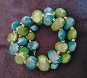 Green and Blue Kazuri Bracelet