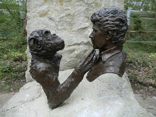 Image: Sculpture of Charlie and Jim Cronin at Monkey World Ape Rescue Centre