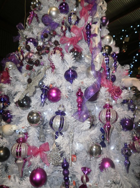pink purple white christmas tree - Decorated White Christmas Trees