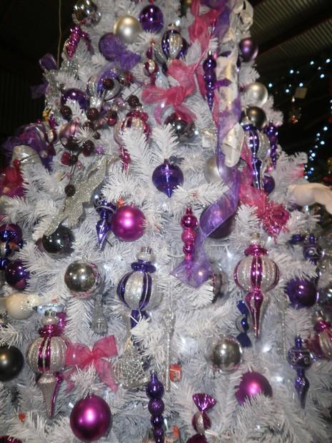 pink purple white christmas tree