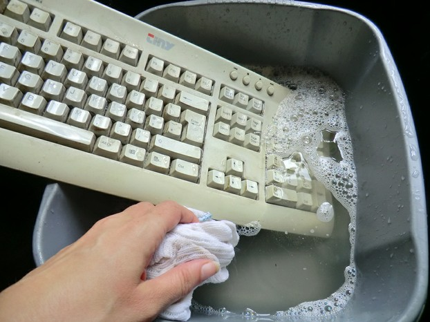 Image: Keyboard in the sink.