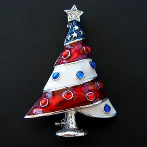 Red White & Blue Tree Pin