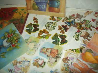 Paper cut outs and napkins for decoupage