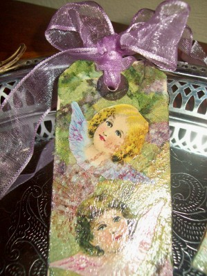 Decoupaged Manilla tags - Makes beautiful bookmarks