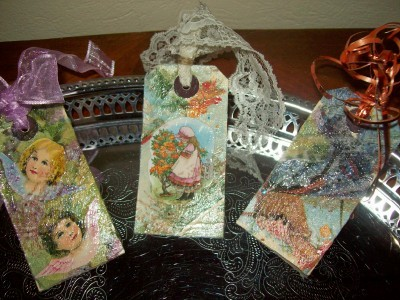 I decoupaged these Manilla tags. It will be marvelous gift tags