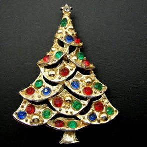 Vintage Unsigned Christmas Tree Pin