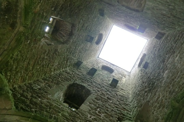 Image: Looking Upwards Inside St Michael's Tower. No shelter here.