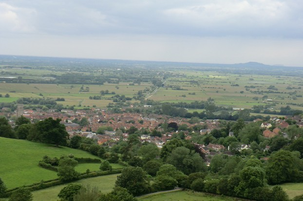Image:  Glastonbury (in daylight) as viewed from the Tor