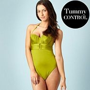 Green ring drape swimsuit