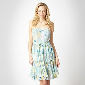 Light blue floral printed bandeau dress